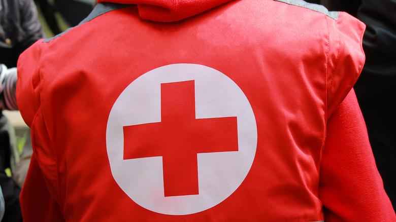 Medical professional wearing American Red Cross uniform