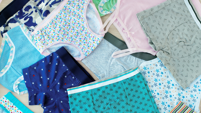 Several pairs of underwear spread out