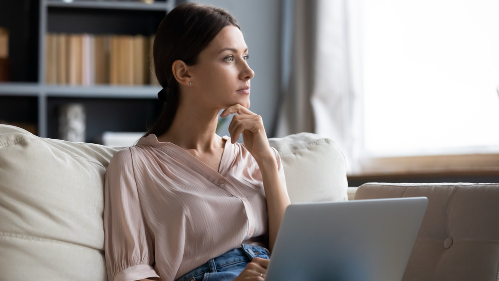 Woman spending too much time inside